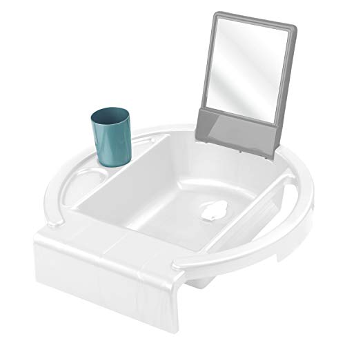 Rotho Babydesign Lavabo infantil Kiddy Wash, Para fijar en el borde de la bañera, 38,7 x 38,2 x 10 cm, Blanco, 20034 0314 01
