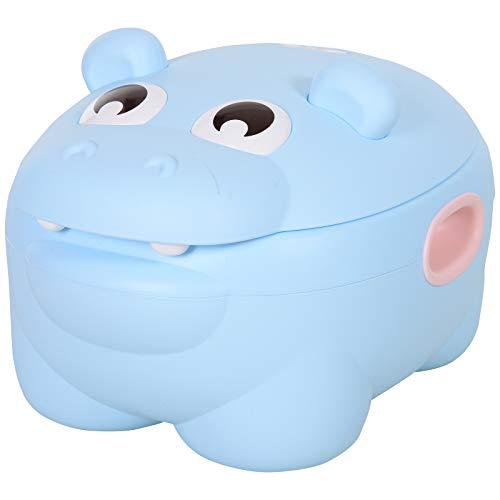 HOMCOM Orinal Infantil para Bebés Extraíble 2 en 1 con Forma de Hipopótamo con Asas Aprender Entrenamiento Fácil de Limpiar Carga 25 kg Indorno 40x30x23 cm Azul