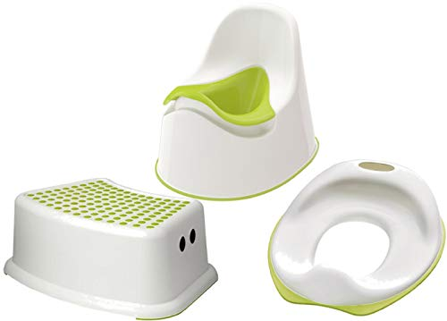 Ikea 601.931.28 Lockig - Orinal infantil con asiento de entrenamiento para inodoro Tossig y asiento para asiento de escalón, color blanco y verde