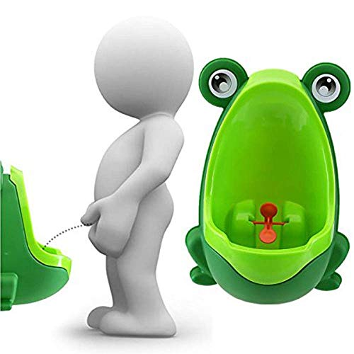 Lorcoo Orinales Infantiles Portátil Niños Frog Urinario con ventosas para Boy Pee (Verde)