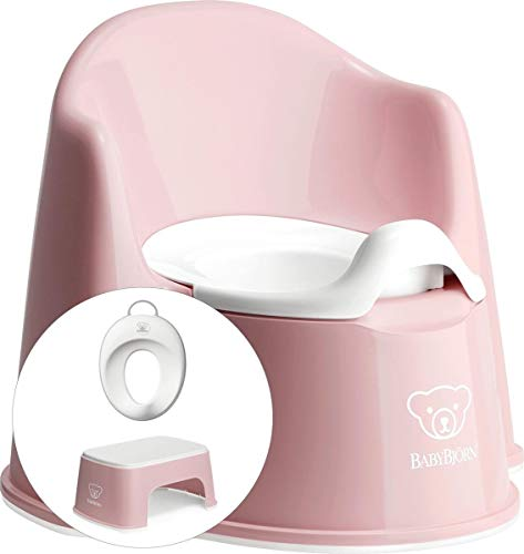 BABYBJÖRN Juego de iniciación para aprender a ir al orinal: silla, taburete y asiento de inodoro, color rosa pálido y blanco