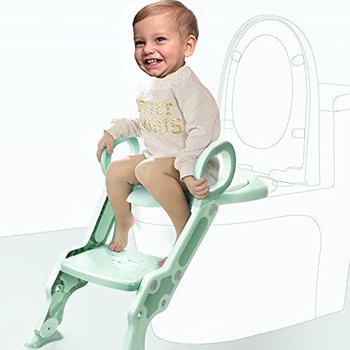 Babify Reductor WC con Escalera para niños - Adaptador para Inodoro - Doble altura ajustable de 1 a 7 Años - Cojín Antideslizante Incluido - Facil Limpieza - Color Blanco/Gris