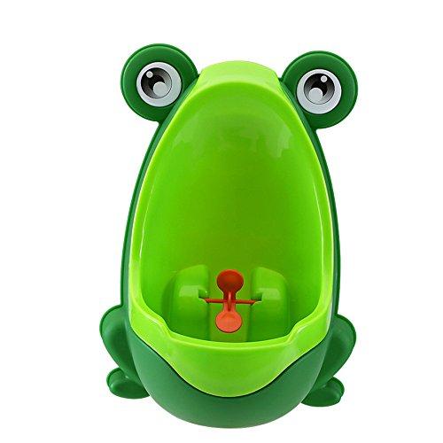 NYKKOLA - Orinal de formación para niños, diseño de rana, con molinillo giratorio verde verde