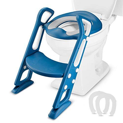 Mture Adaptador WC Niños con Escalera, Ajustable con Pasos, Asiento de Inodoro de WC Antideslizante, para 1-7 niños