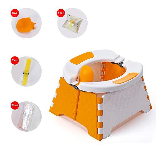 Honboom Asiento de entrenamiento portátil para niños pequeños | Orinal de viaje | Asiento de inodoro plegable | Asiento de baño para bebé para interior y exterior (naranja)