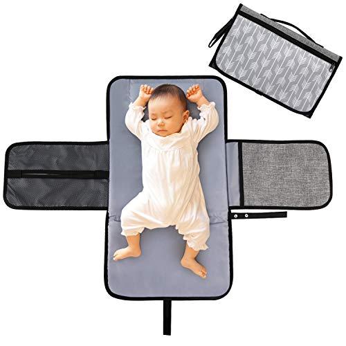 LEADSTAR Portátil Cambiador, Impermeable Cambiador de Pañales para Bebé, Cambiador de Viaje, Lavable Plegable Orinal Infantil Pad Kit de Cambiador Para el Hogar Viaje Fuera, Gris