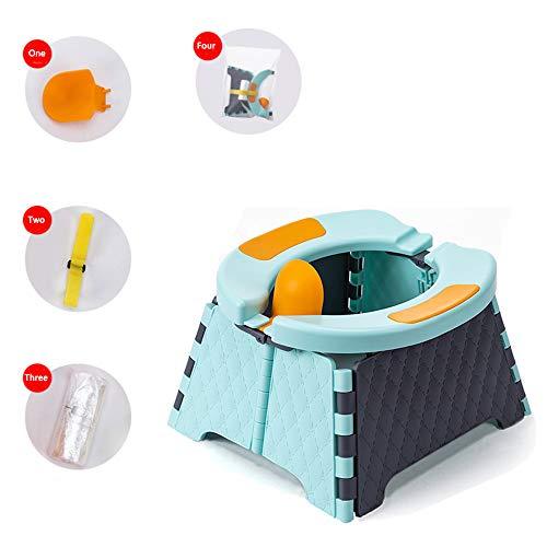Asiento de entrenamiento portátil para ir al baño para niños pequeños   Orinal de viaje   Asiento de inodoro plegable   Asiento para orinal de bebé para interior y exterior (azul)