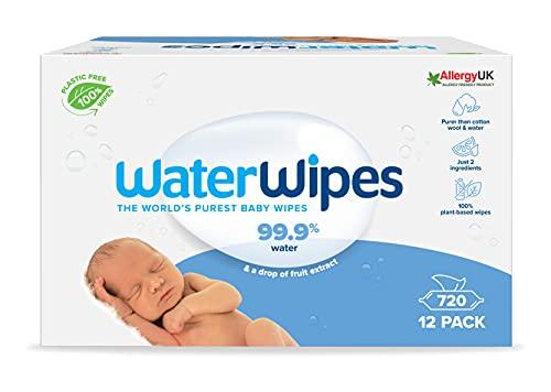 WaterWipes Toallitas de bebé (12 x 60 unidades), las toallitas húmedas más puras para pieles suaves de bebés, toallitas limpiadoras compostables 100% de origen vegetal – 720 toallitas