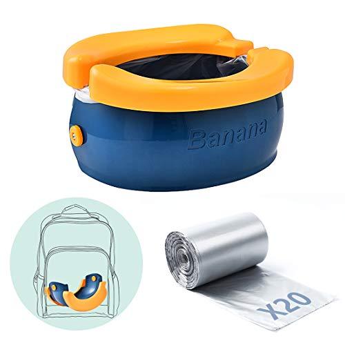 Orinal de viaje para niños, Asiento de entrenamiento para ir al baño,Fácil de transportar y usar cuando se viaja al aire libre o al ir al baño,con 20 bolsa de plástico almacenamiento (Naranja azul)